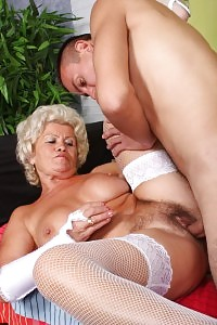 Big-breasted Grannie Francesca Rides On Top To Rub A Young Meatstick And Take Jizz Showering In Her Tits