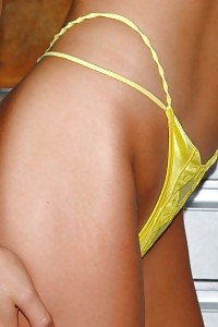Amazing Sporty Housekeeper Flashes Her Yellow Tiny Panty Panties