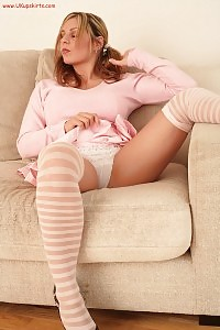 Light-haired Beatrice Poses With Legs Stretched Wide Open