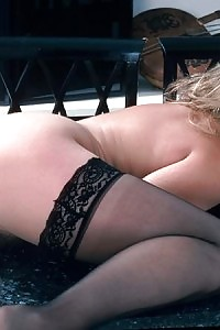 Plumpish Unshaved Blonde In Black Nylons Stretching Wide Stripping Cunt