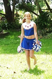 Brilliant Blonde Cheerleader Does Her Bored Routine And Jerking Off Against The Cam