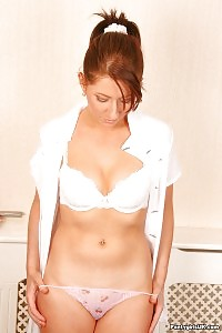 Stella Shows Her Pink Thongs And White Bra On Her Erotic Body