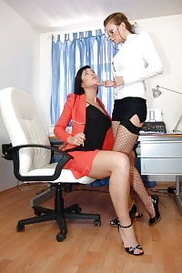 Sexy Secretaries Stracy Stone And Tarra White Welcome Their Boss With A Nice Threesome
