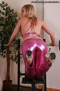 Alisa Magnificently Poses On The Ball In Her Pink Latex Pants  And Bra