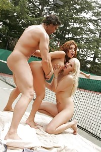 Good-looking Models Sativa Rose And Saana Taking A Time Out From A Tennis Exercises To Share A Wet Shaft