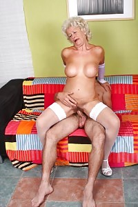 Breathtaking Granny Francesca Teases Off Her Underwears And Hooks A Young Boy Into Dining Out Her Cunt